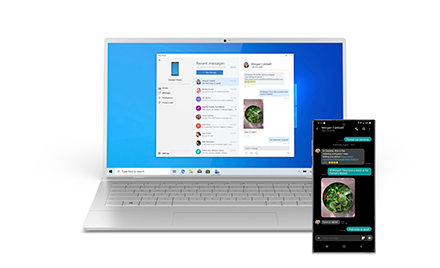 Image of the MyPhone app used on a PC and phone.