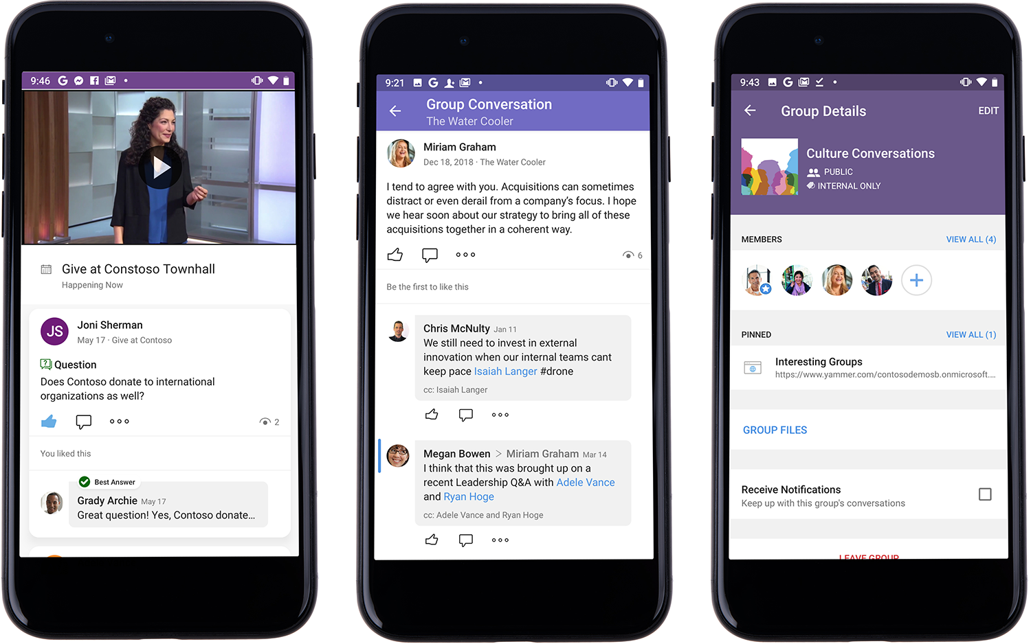 Image of three phones beside one another showing features in Yammer. One shows a comment under a townhall video stream, one a group conversation in Yammer's Water Cooler, and one the members of a group in Group Details.