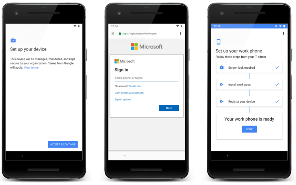 Image of three phones side by side setting up a device as a work phone in Microsoft Intune.