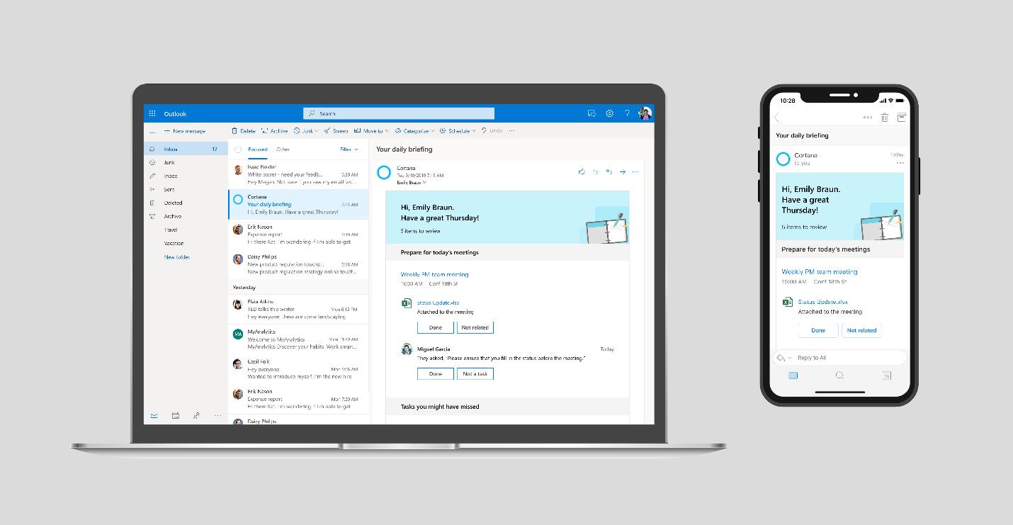 Tela do Outlook com intervenção da Cortana.