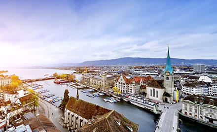 Aerial image of Zurich.
