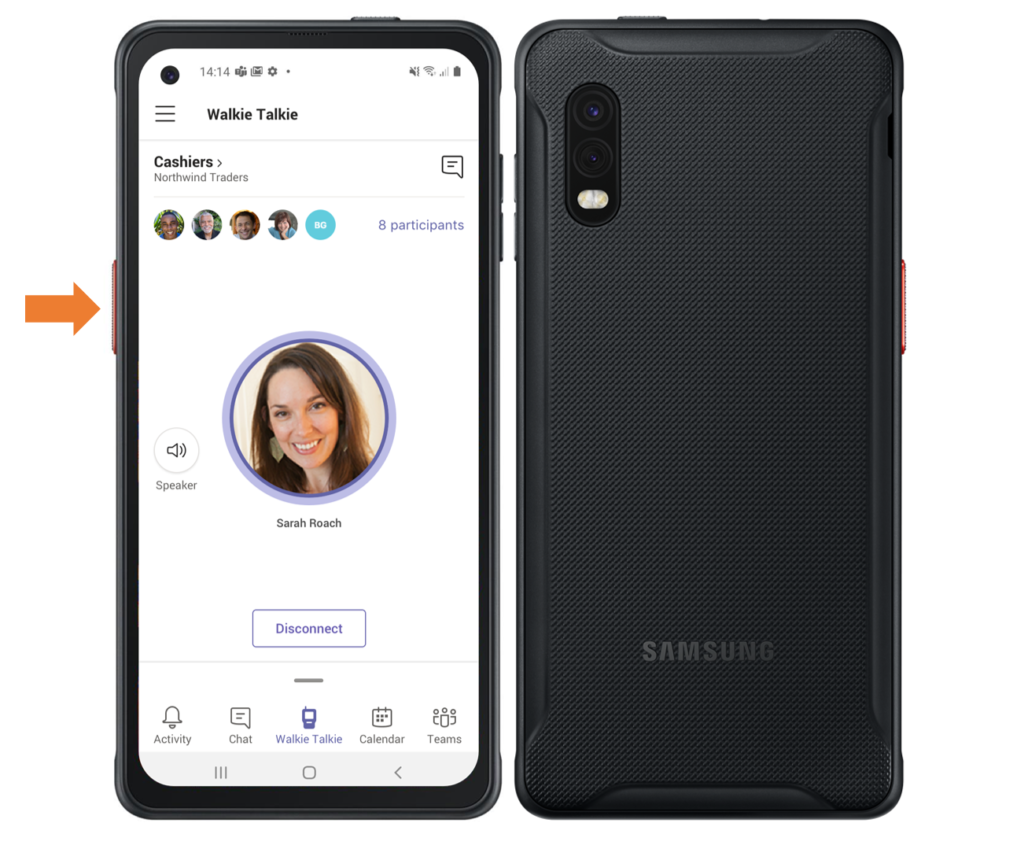 Image of a Samsung phone displaying Microsoft Teams' Walkie Talkie capability. An arrow points to theside button, which enables the microphone.