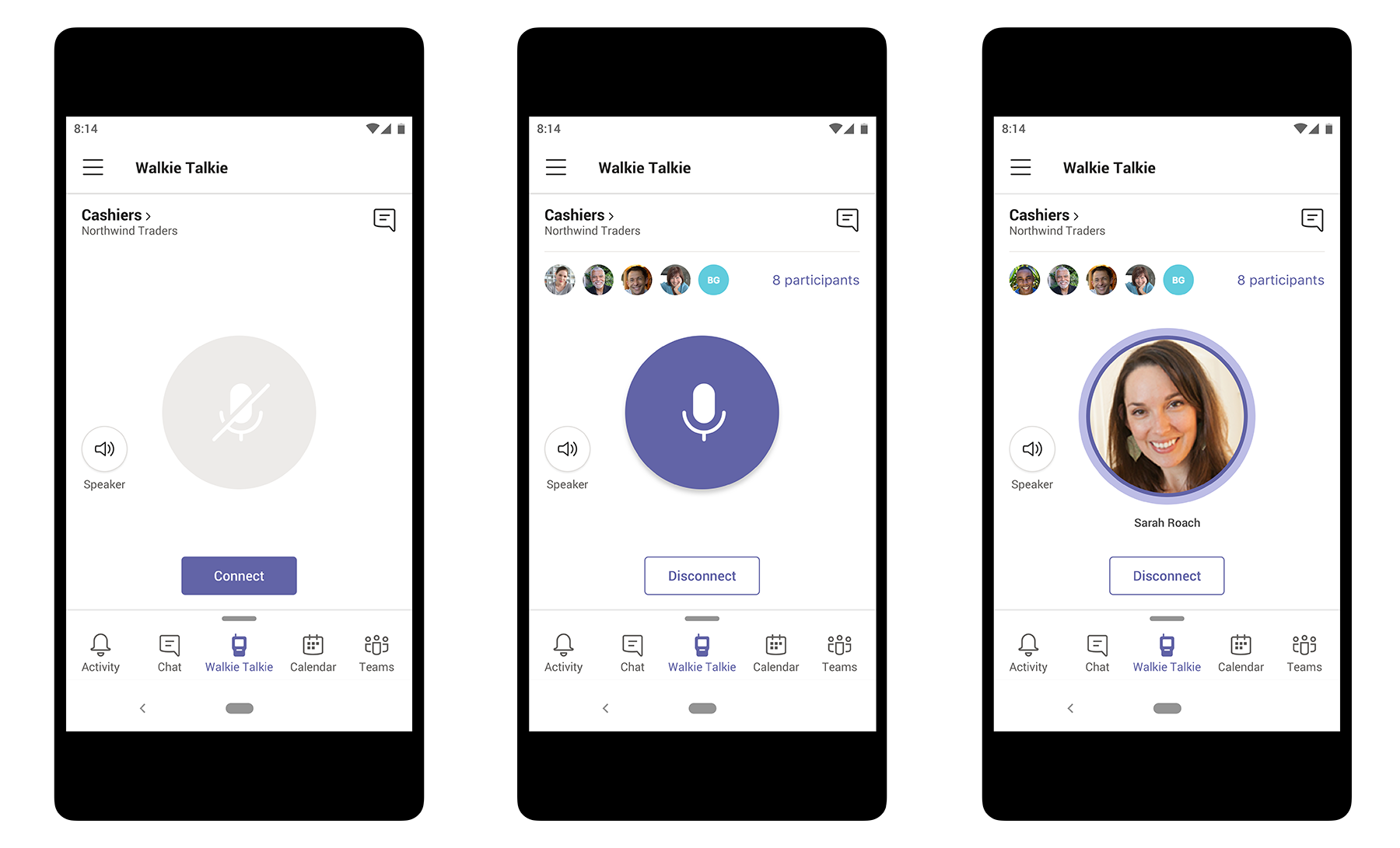 Image displaying the intuitive push-to-talk experience to connect team members in Microsoft Teams. Three phones are displayed at various stages in connecting a manager to her team of cashiers.