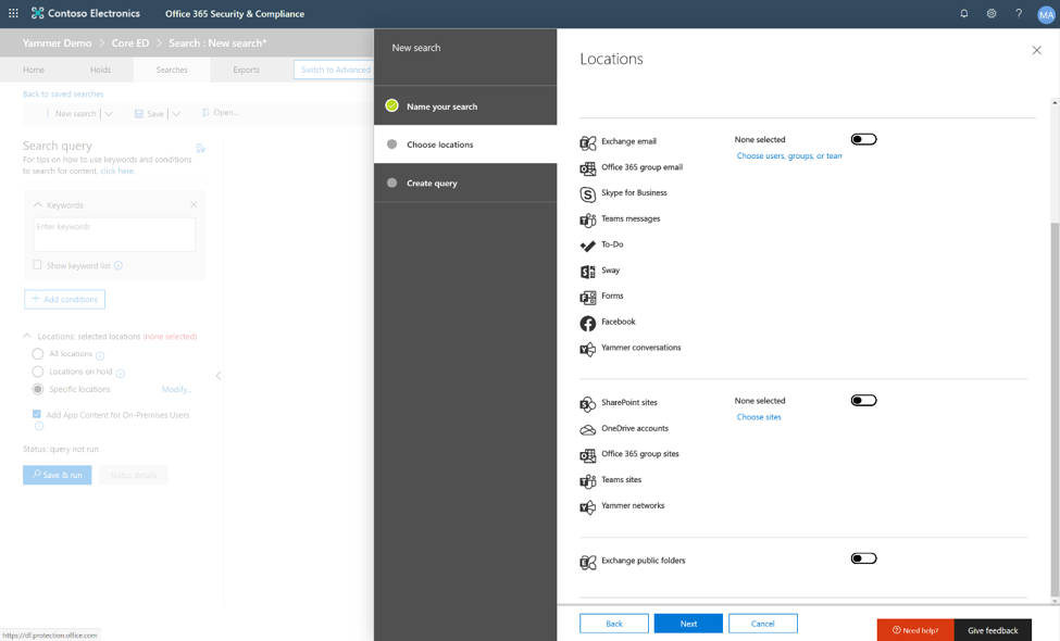 Image showing the list of locations, now including Yammer, in the Microsoft 365 compliance dashboard.