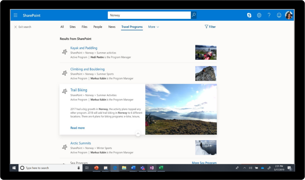 "Search used to look up ""Norway"" in SharePoint."
