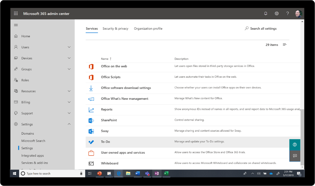 Services in the Microsoft 365 admin center.