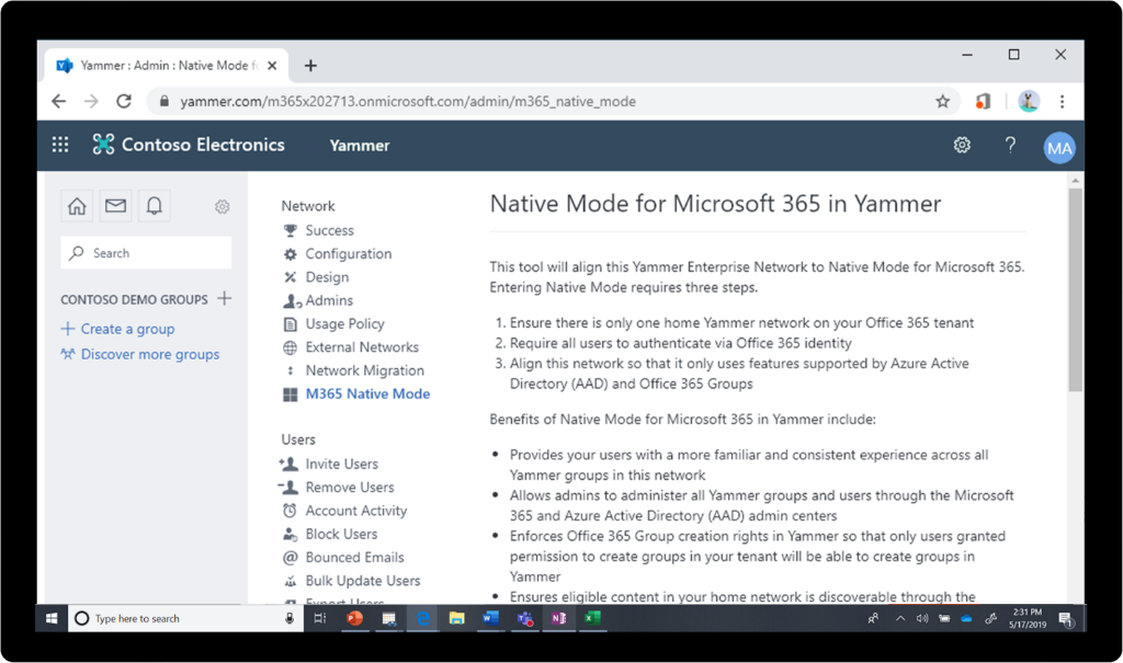 Image of Microsoft 365 Native Mode enabled in Yammer.