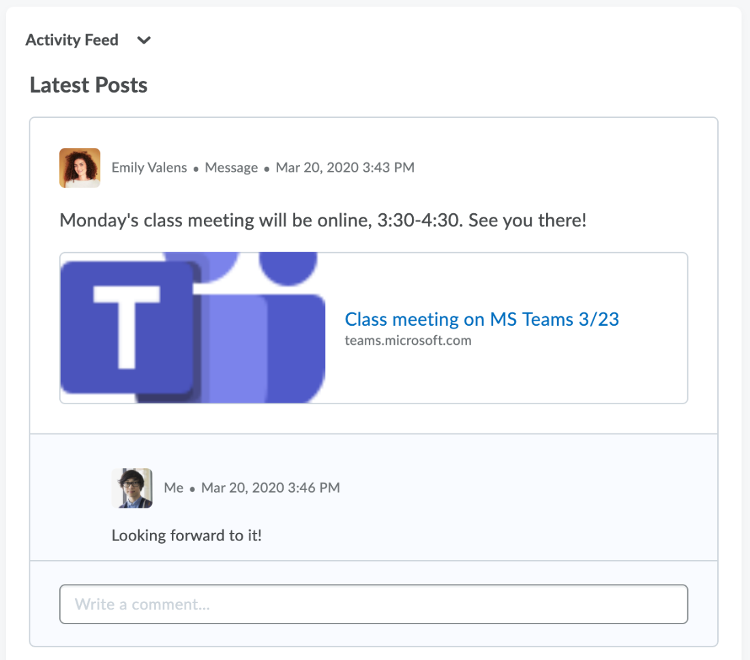 """Image showing a meeting link created in Brightspace by D2L. A student has written a comment beneath the link: """"Looking forward to it!"""""""
