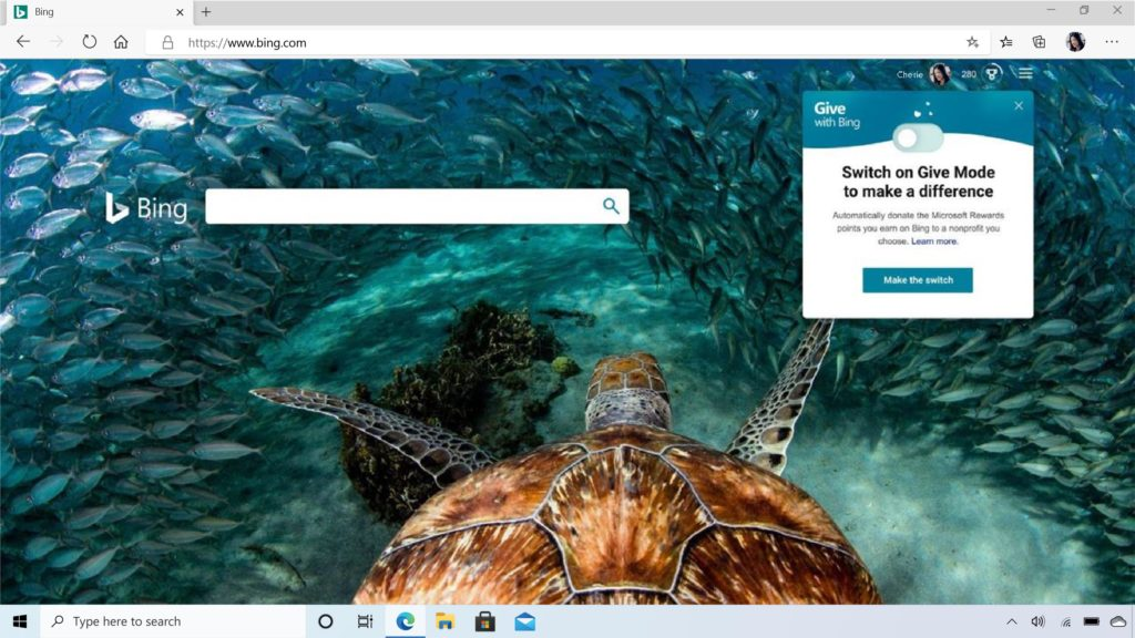 The Give Mode feature on a Bing homepage.
