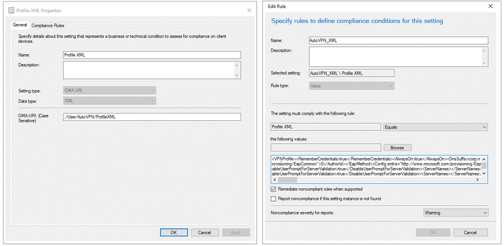 Image showing a Profile XML being created and the OMA-URI settings being edited, to create a connection profile in System Center Configuration Manager.