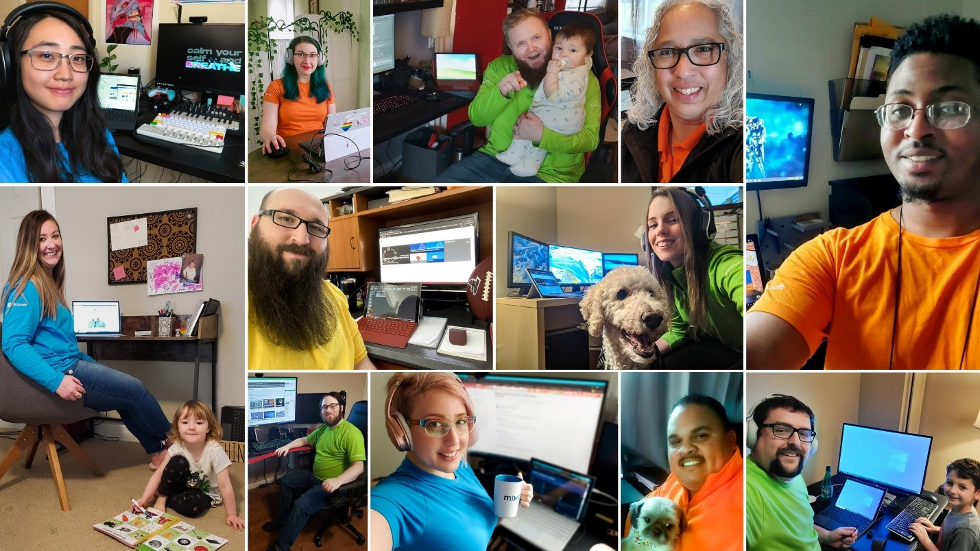 Microsoft Store associates working from home.