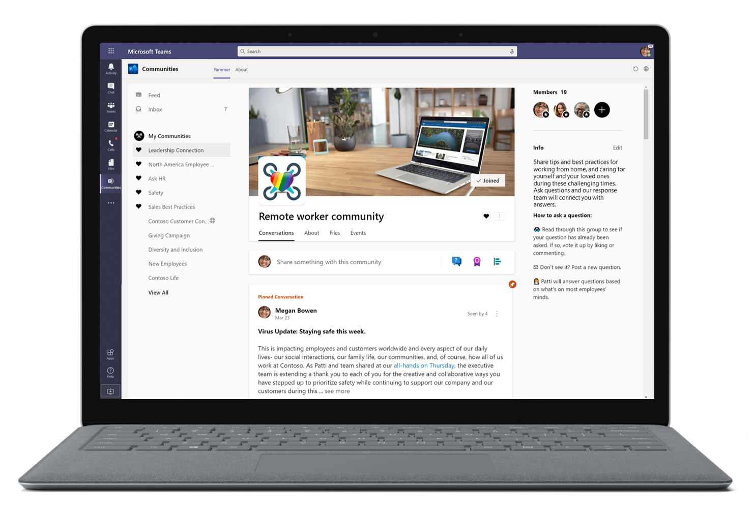 Image of a remote worker community in Microsoft Teams.
