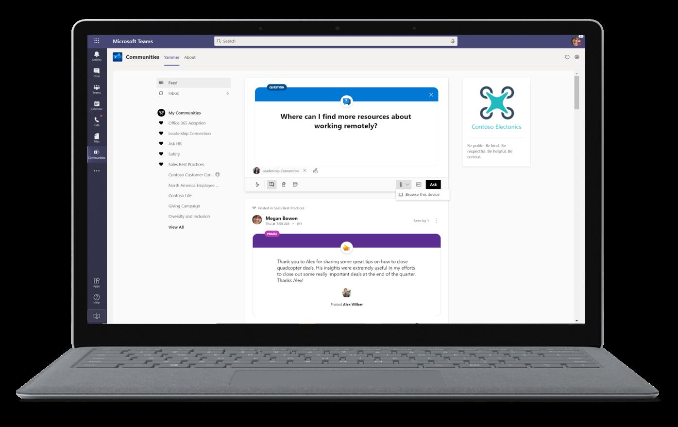Immagine di un membro della comunità di lavoratori remoti che chiede risorse in Microsoft Teams.