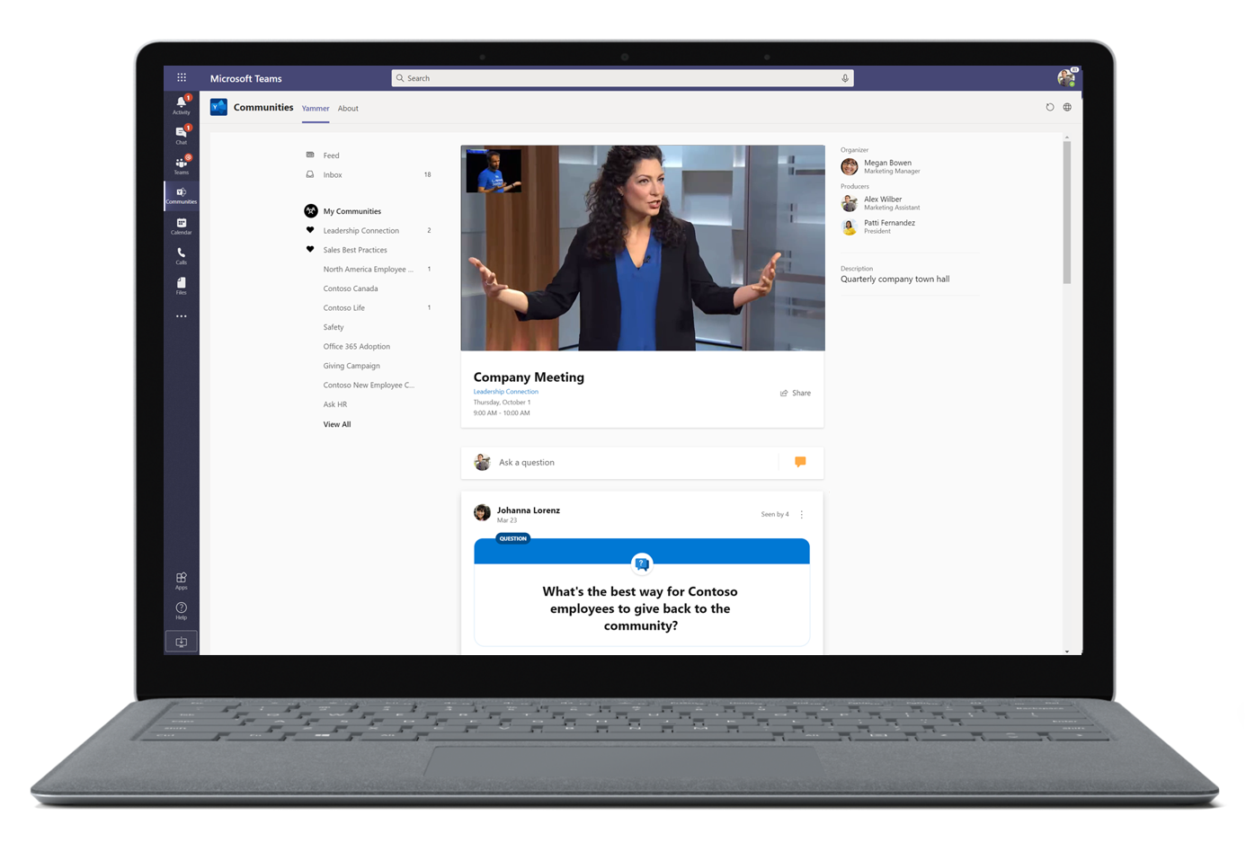 Image of a company meeting in Microsoft Teams.