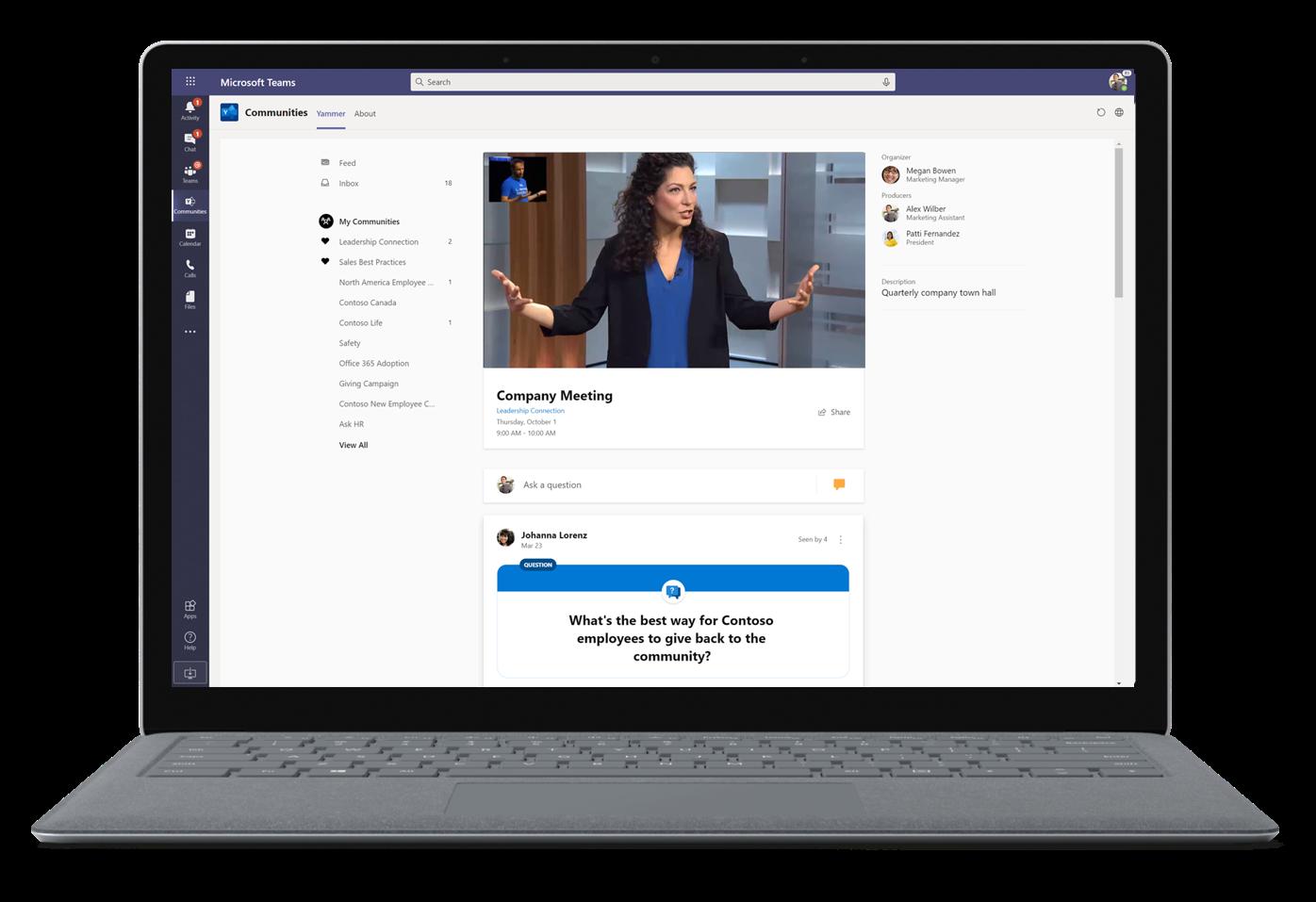 Afbeelding van een bedrijfsbijeenkomst in Microsoft Teams.