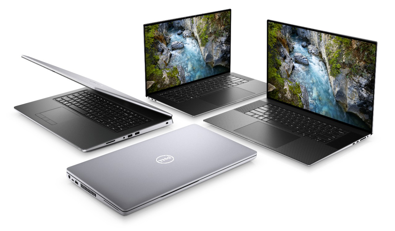 Collection of compact Dell laptops