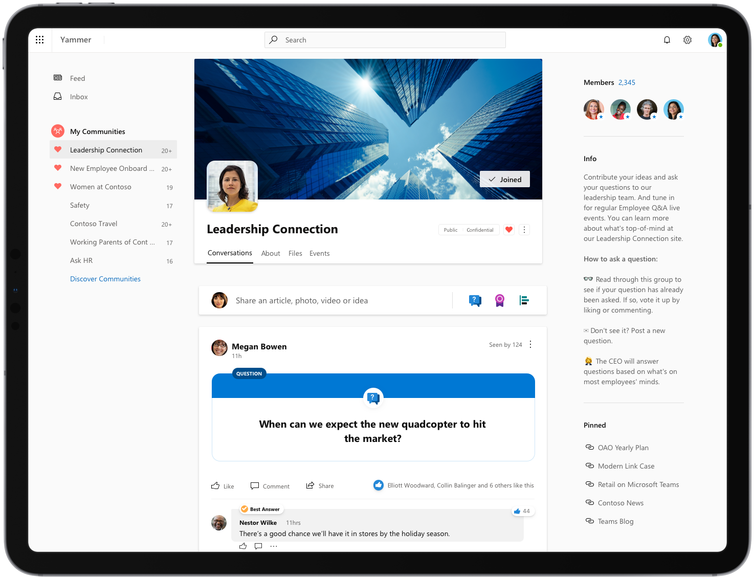 An image of the redesigned Yammer.