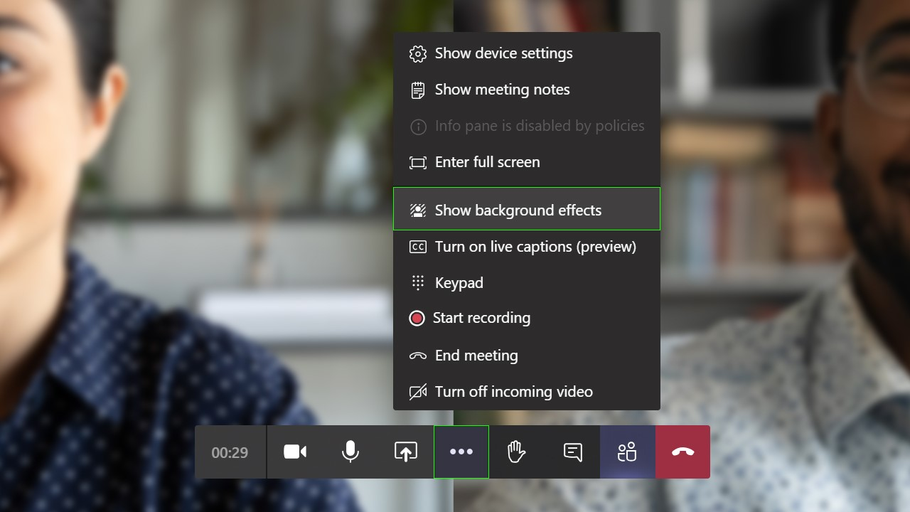"""Show background effects"" selection in Microsoft Teams."