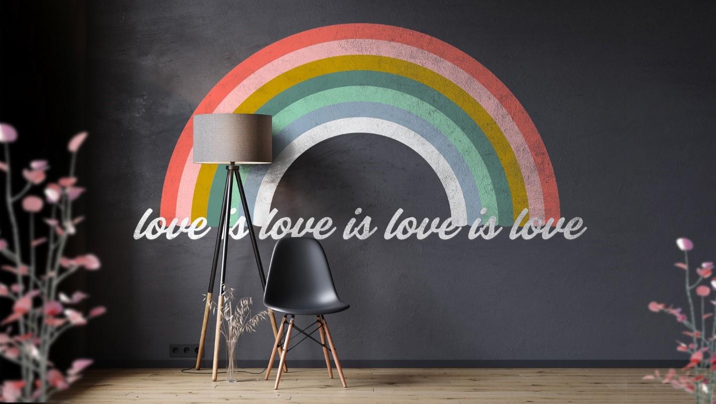 """""""love is love is love is love"""" background in Microsoft Teams."""