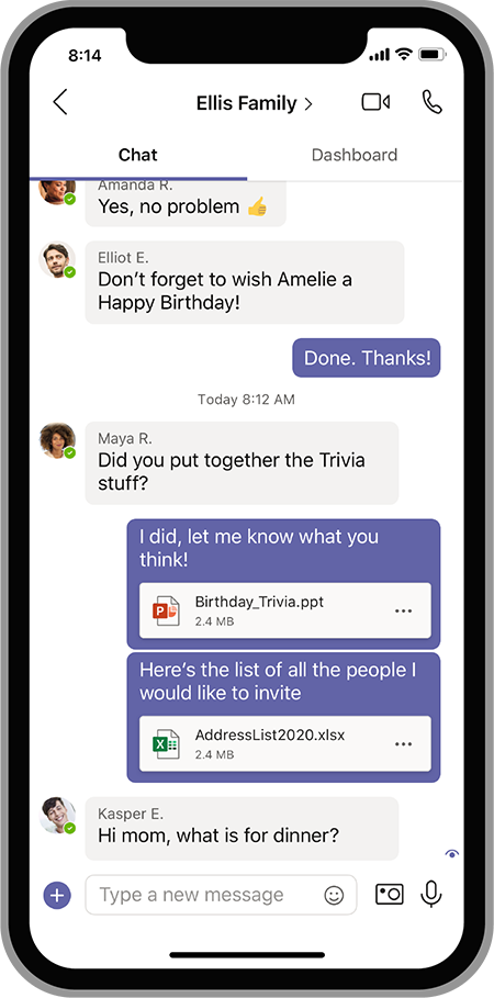 An animated image showing family collaboration on Microsoft Teams.