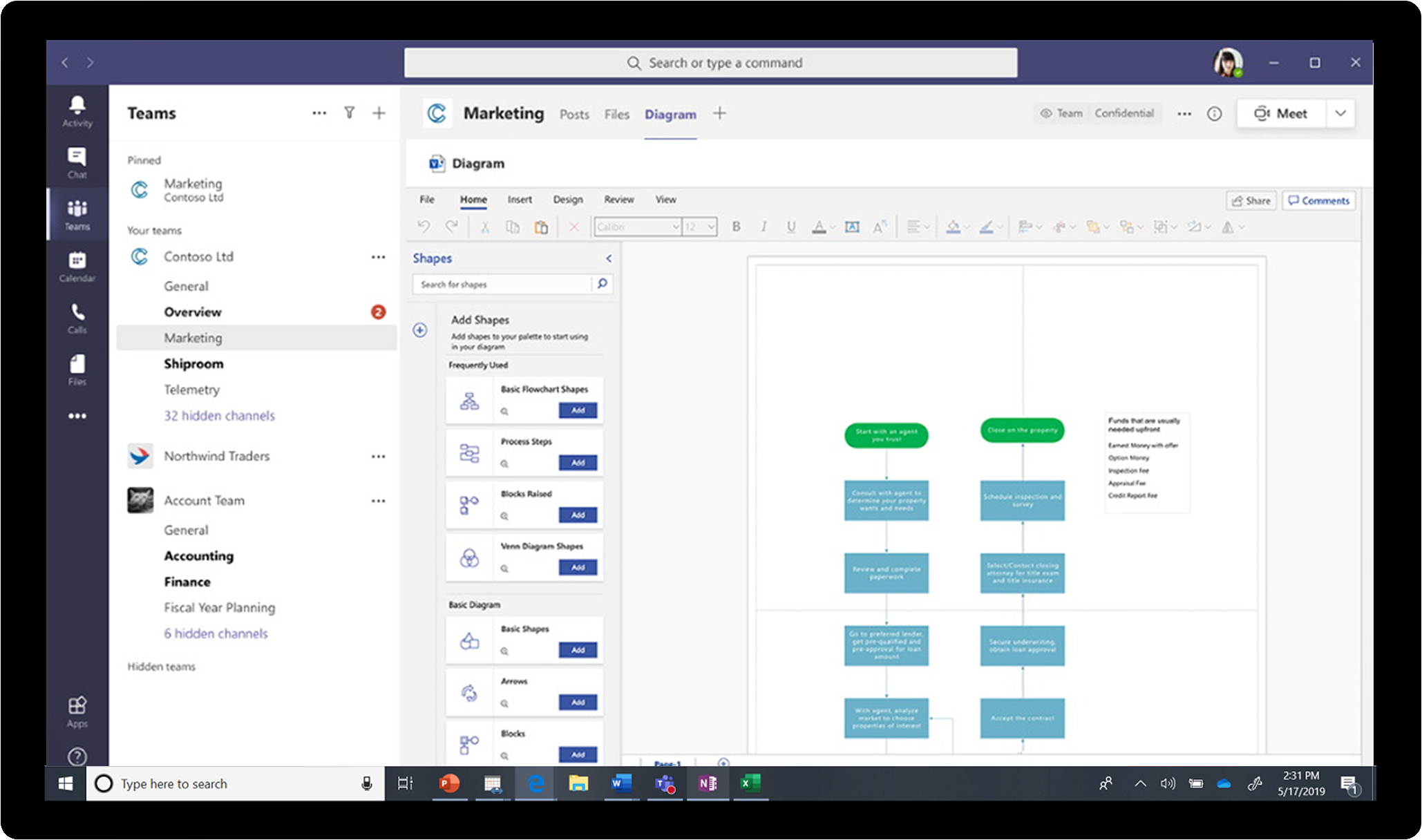 An image showing access to Visio within Microsoft Teams.