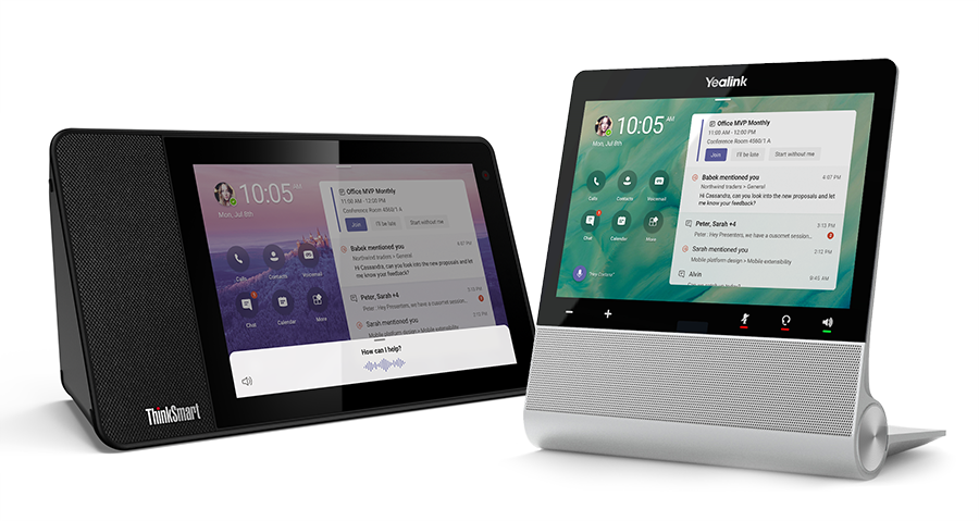 An image of with Cortana built-in, the Lenovo ThinkSmart View and Yealink will be delivering the first Microsoft Teams displays in the U. S. later this year.