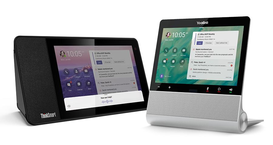 Un'immagine di Cortana integrata, Lenovo ThinkSmart View e Yealink forniranno i primi display Microsoft Teams negli Stati Uniti entro la fine dell'anno.
