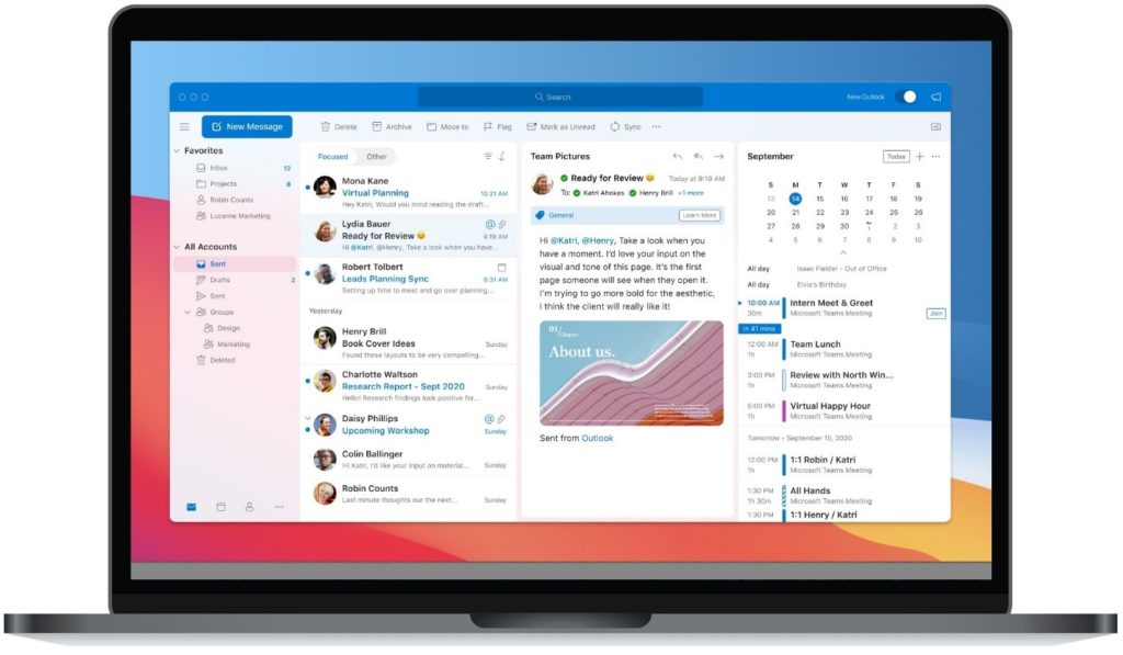 An image of Outlook for Mac.