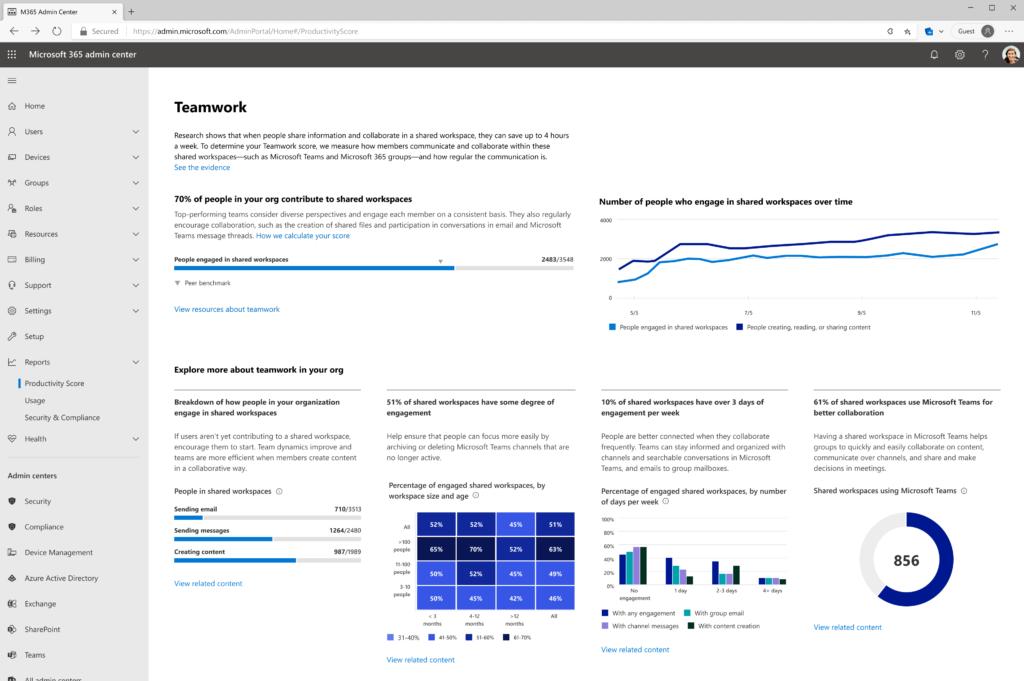 Screenshot of Teamwork Productivity Score