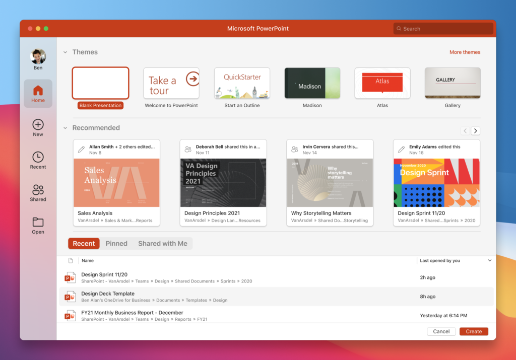 Microsoft PowerPoint presentation themes.