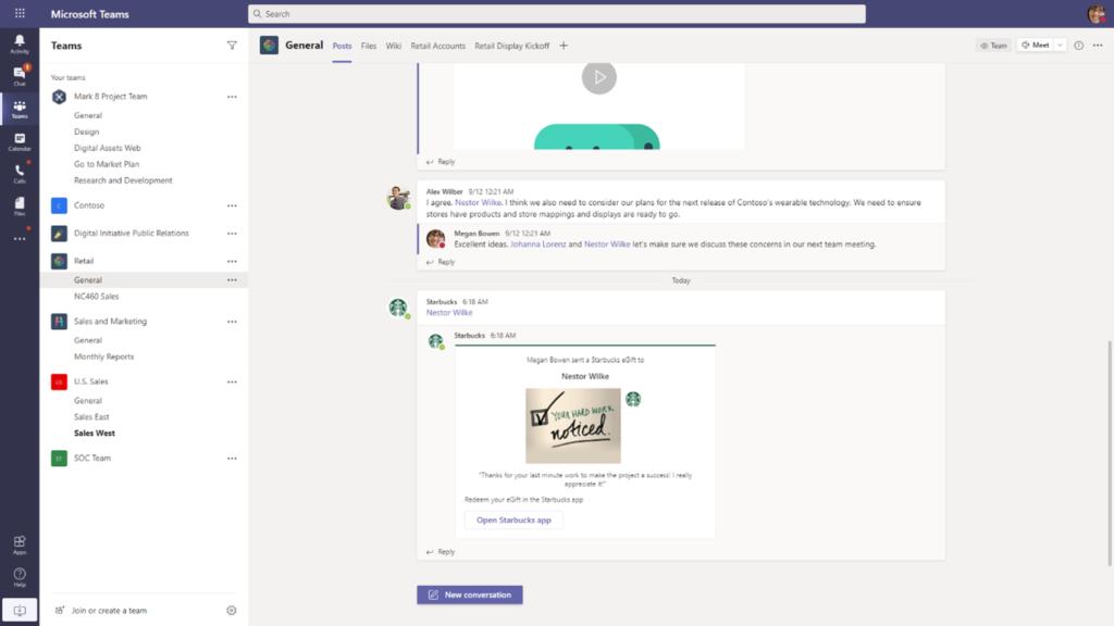 Screenshot of sharing Starbucks eGift card via Microsoft Teams