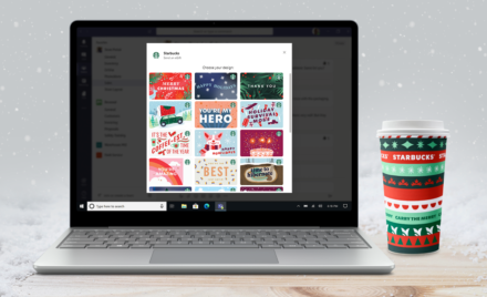 Image for: The Starbucks app in Microsoft Teams—a new way to show appreciation for your colleagues this holiday season and beyond