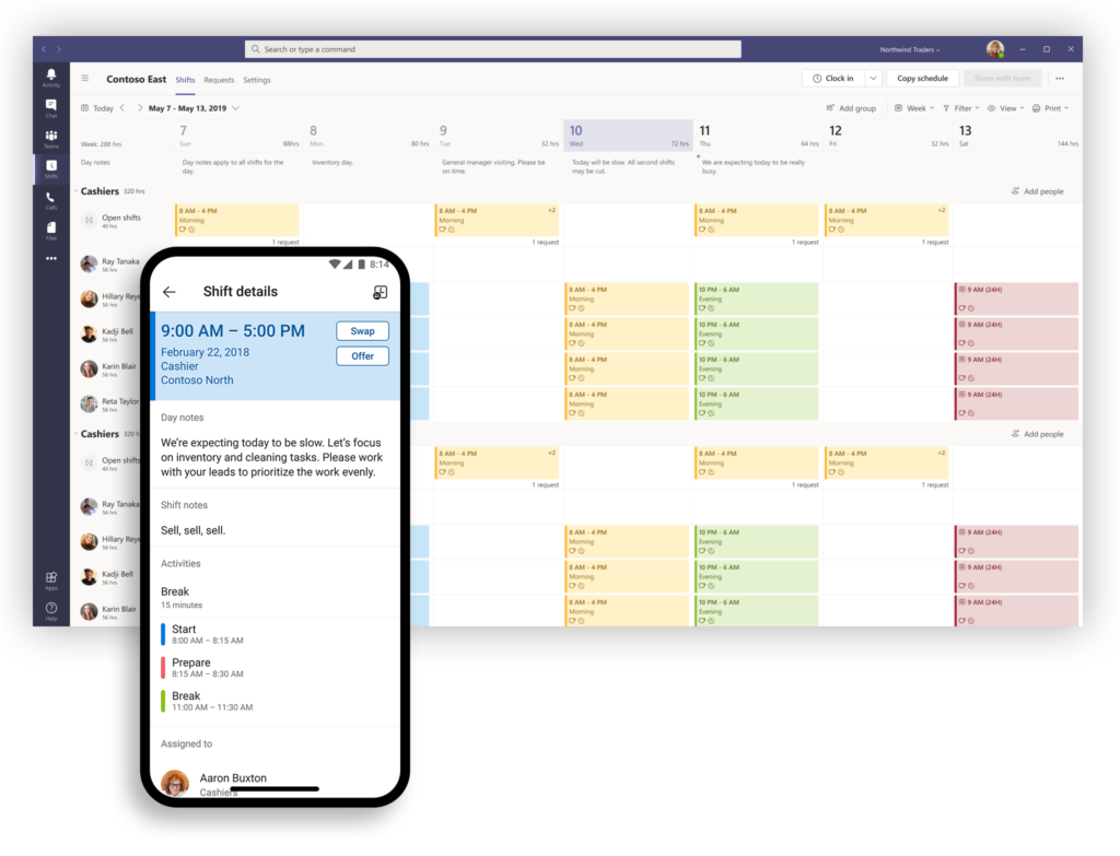 Screen shot showing Tasks and Shifts within Microsoft Teams