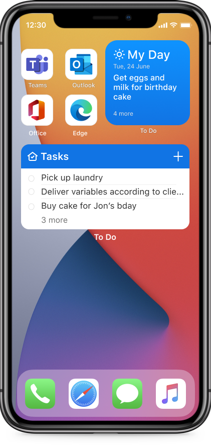 Add a widget for your To Do's on your home screen
