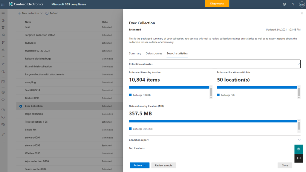 Get estimates, reporting and sampling of results earlier to help inform your collections strategy