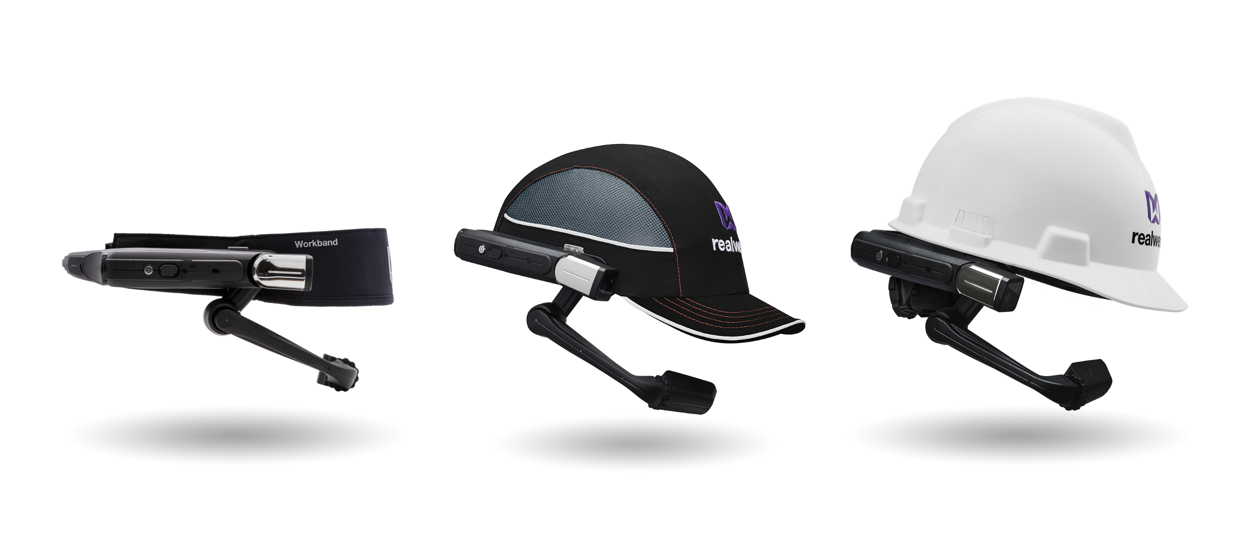 Three examples of RealWear headwear solutions that integrate with Microsoft Teams.