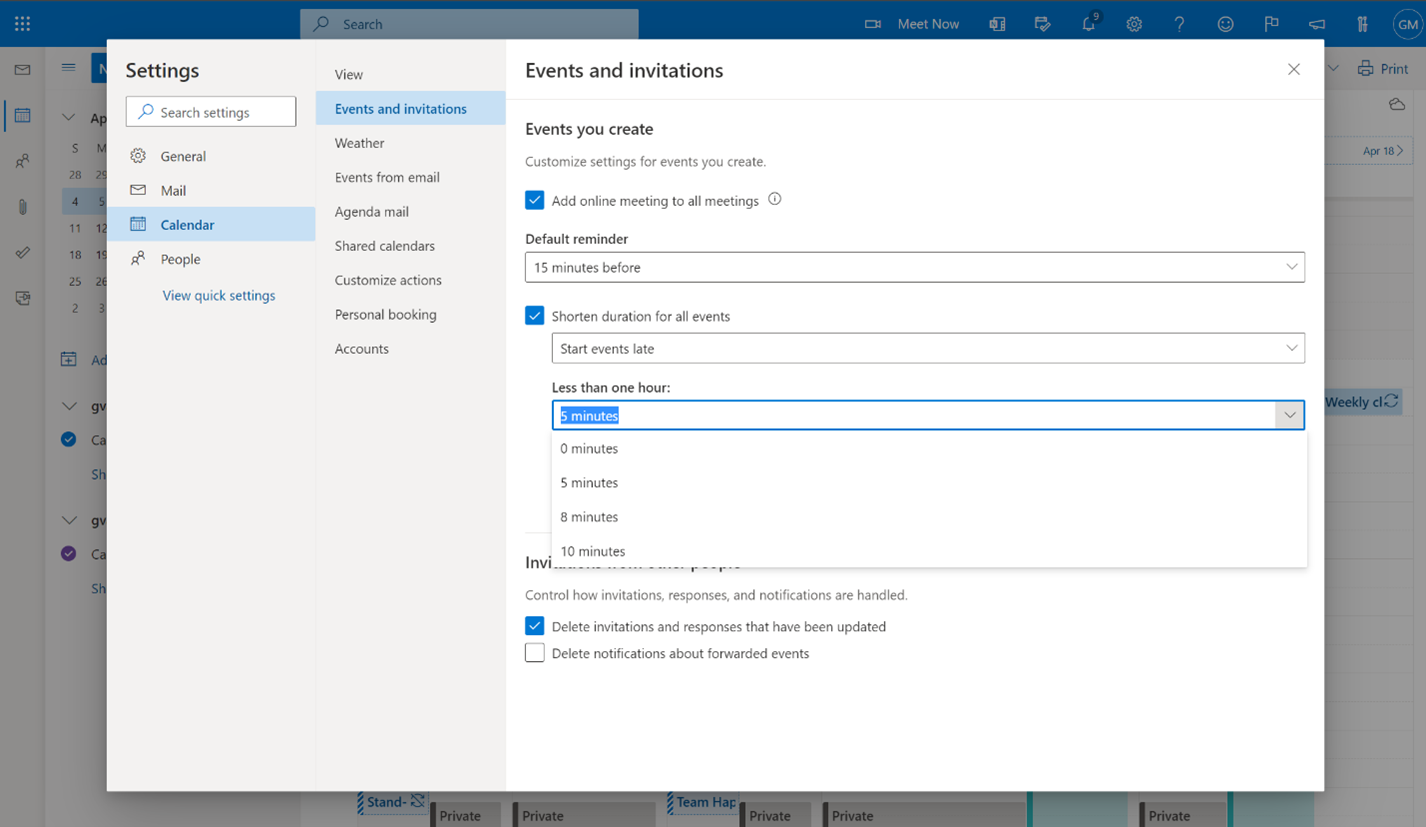 Individuals can change the duration of their events in the Outlook calendar settings.