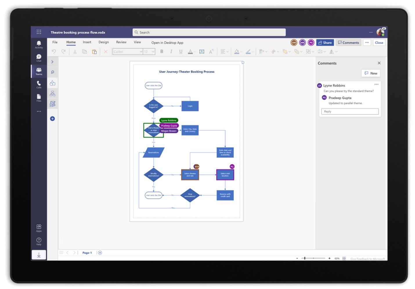 A screenshot of a Visio process diagram in Microsoft Teams
