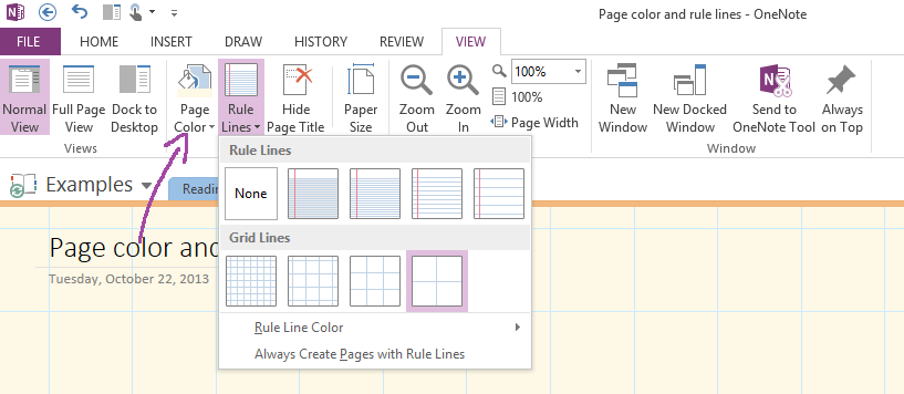 Page Color or Rules Lines on the View tab.