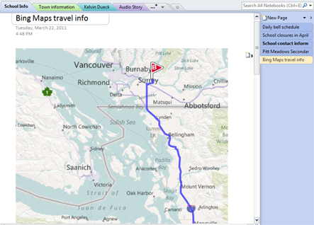 Bing Maps image showing driving route