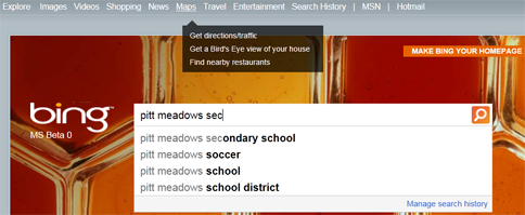 Bing Maps search results for Pitt Meadows Secondary School