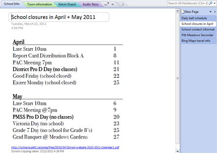 Screen clipping of school closure dates