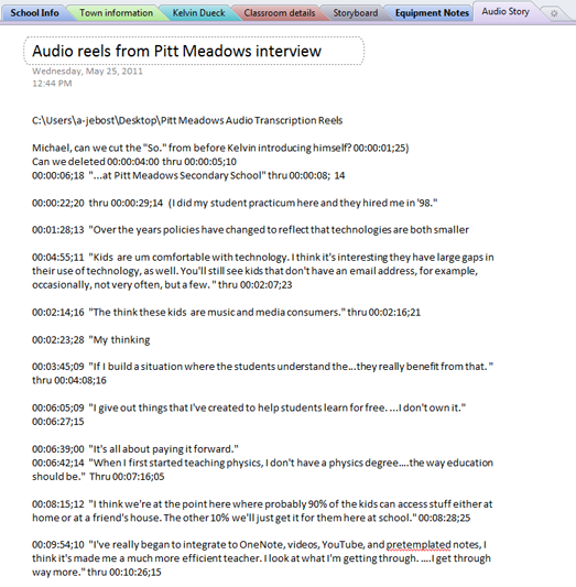 Audio story section in OneNote notebook