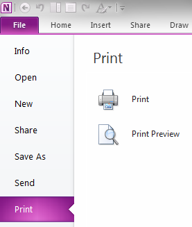 Print button on OneNote Backstage