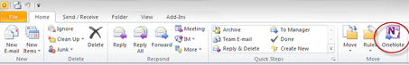 Send to OneNote Button circled on Outlook Ribbon