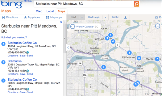Bing Maps image showing locations of nearby Starbuck scoffee shops