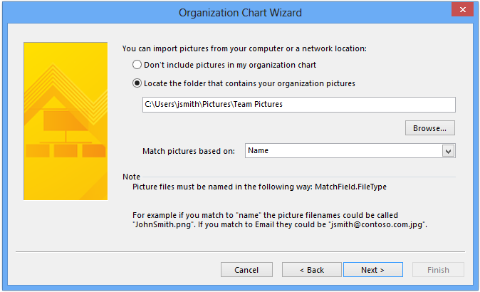 Visio org chart wizard local photo import