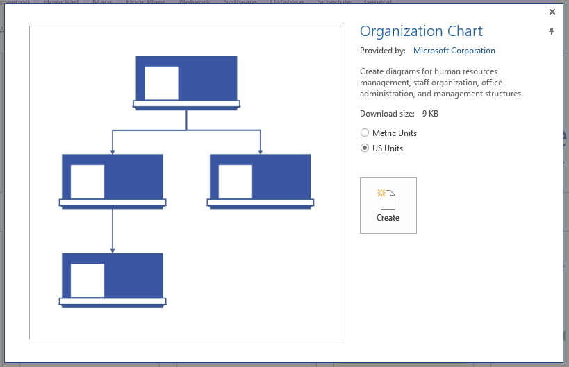 Visio start enhanced template preview