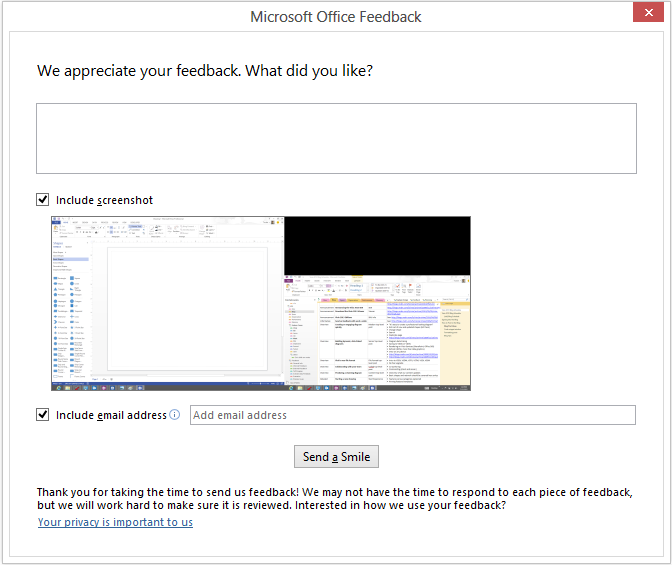 Microsoft Office feedback dialog