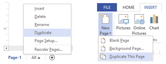 Visio duplicate page